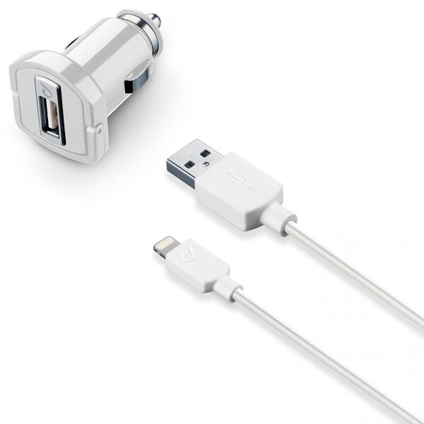 Автомобильное зарядное устройство для Apple Cellular Line CBRUSBMFIIPH5W автомобильное зарядное устройство для apple interstep 1 usb 1a кабель lightning white