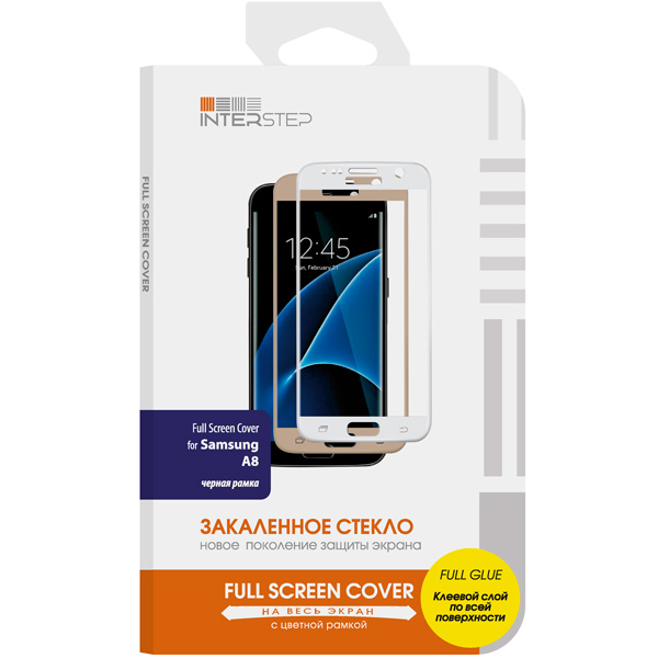 Защитное стекло InterStep Full Screen Cover FG для Samsung Galaxy A8 Black аксессуар защитное стекло samsung galaxy a3 2017 sm a320f a3200 ainy full screen cover 0 33mm gold