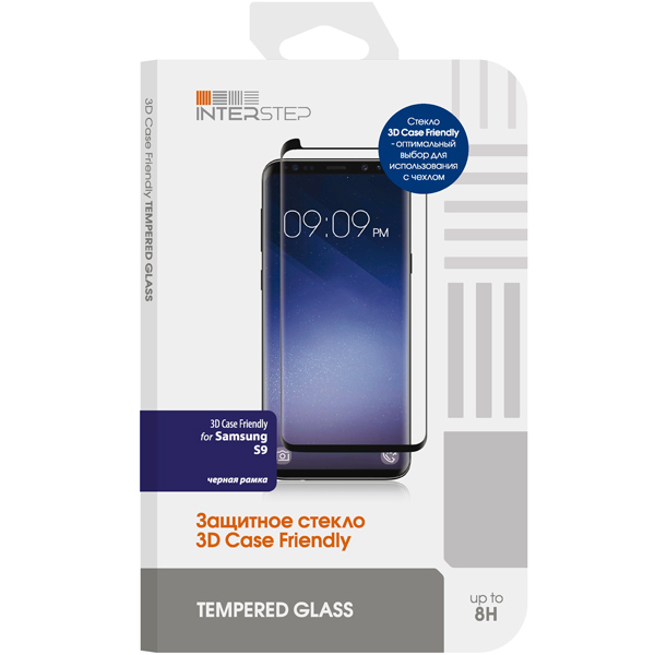 Защитное стекло для Samsung InterStep 3D Case Friendly для Samsung S9, черная рамка