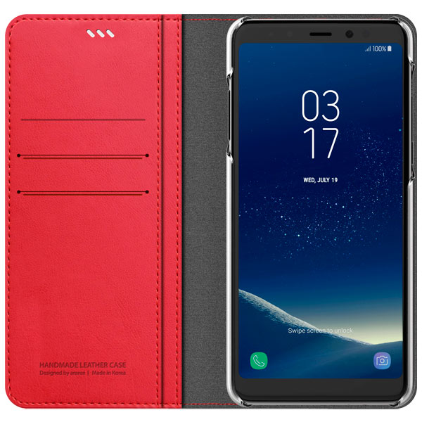 Araree, Чехол для сотового телефона, Mustang Diary для Samsung A8+ (2018) TangerineRed