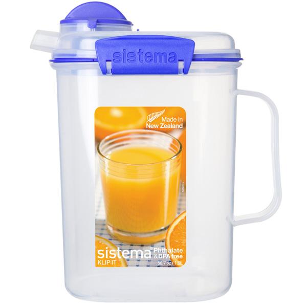 Контейнер для продуктов Sistema KLIP IT Juice 1.5л Blue (1415) кувшин для сока sistema 1 5 л