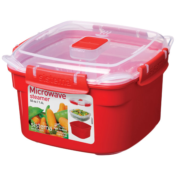 Контейнер для микроволновой печи Sistema Microwave Steamer 1.4л Red (1101)