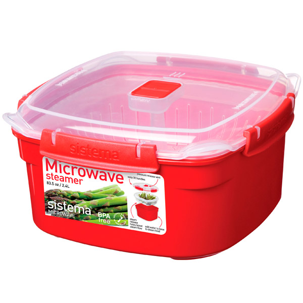 Контейнер для микроволновой печи Sistema Microwave Steamer 2.4л Red (1102)