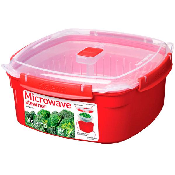Контейнер для микроволновой печи Sistema Microwave Steamer 3.2л Red (1103) razrabotana novaia sistema videonabludeniia dlia rossiiskih kosmonavtov