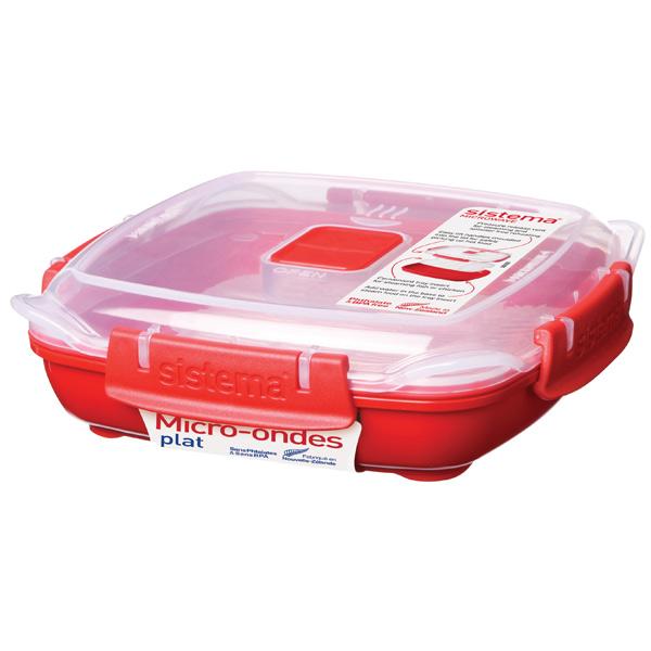 Контейнер для микроволновой печи Sistema Microwave Plate 440мл Red (1104)