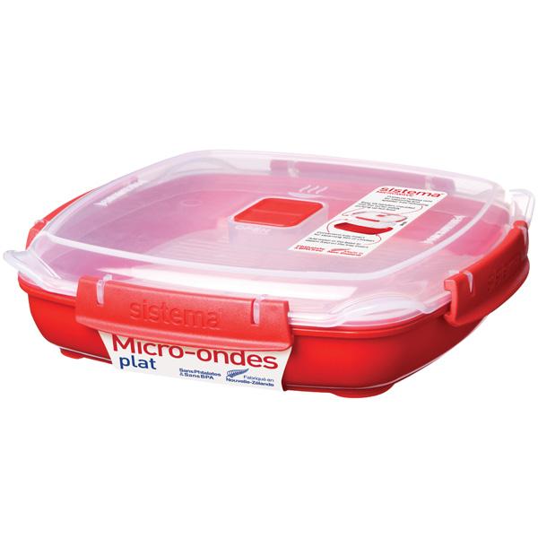 Контейнер для микроволновой печи Sistema Microwave Plate 880мл Red (1105)