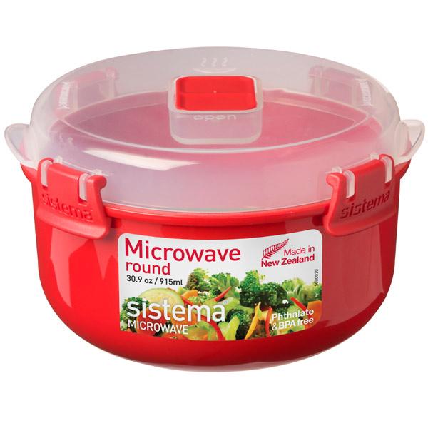 Контейнер для микроволновой печи Sistema Microwave Round 915мл Red (1113) красный