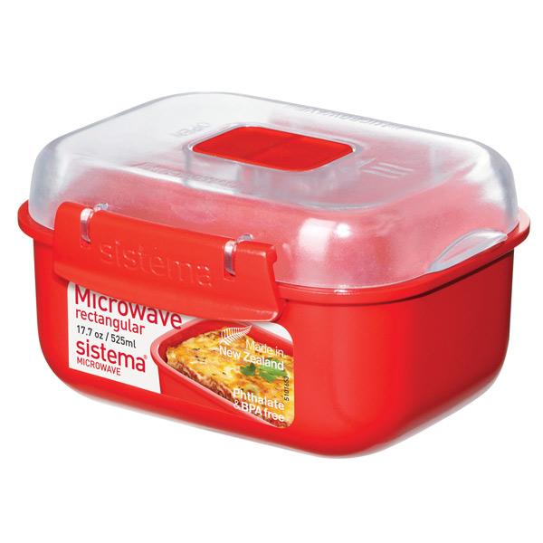 Контейнер для микроволновой печи Sistema Microwave Rectangular 525мл Red (1119)