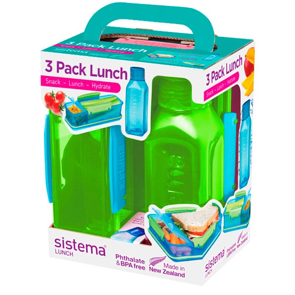 Контейнер для продуктов Sistema 3 Pack Lunch 475мл Green (1595)