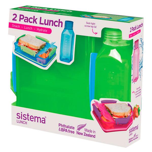 Контейнер для продуктов Sistema 2 Pack Lunch 475мл Green (1597)