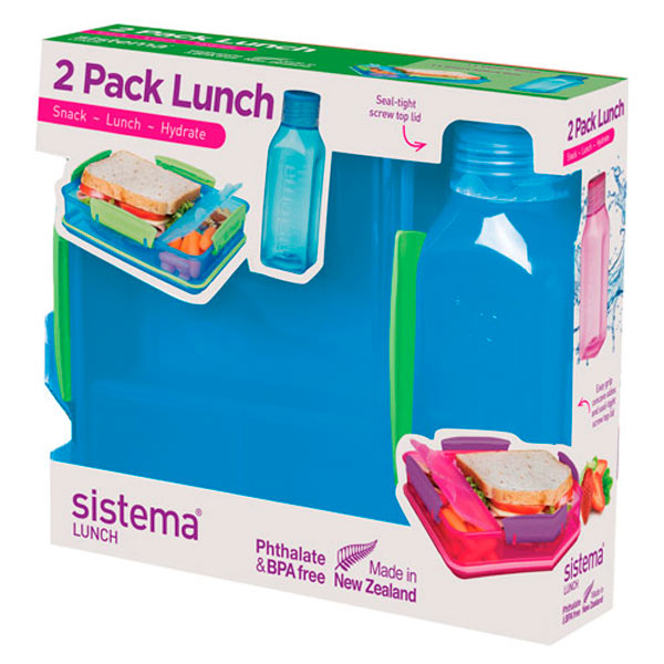 Контейнер для продуктов Sistema 2 Pack Lunch 475мл Blue (1597)