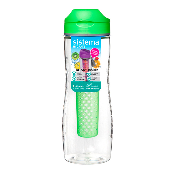 Бутылка для воды Sistema Hydrate Tritan Infuser 800мл Green (660) ahava time to hydrate нежный крем для глаз 15 мл