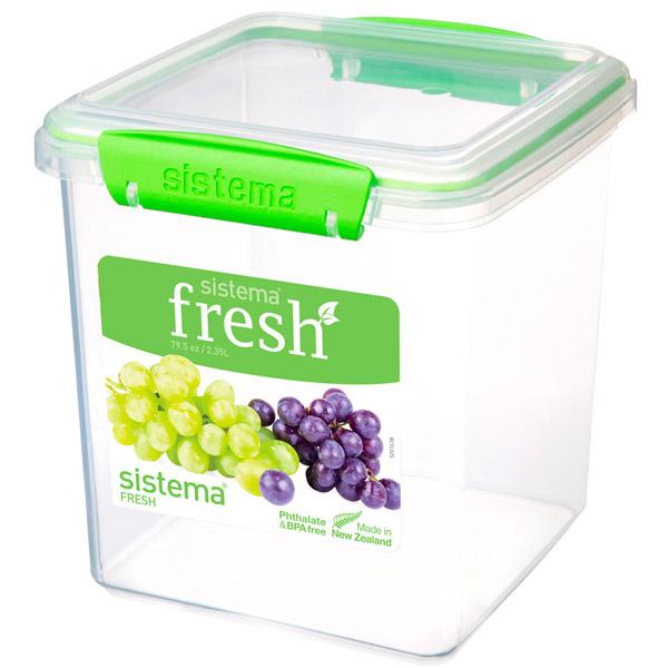 Контейнер для продуктов Sistema Square Fresh 2.35л Lime Green (951334) цена 2017
