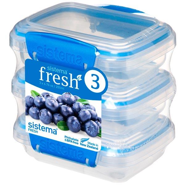 Контейнер для продуктов Sistema 3 Pack Fresh 200мл Marine Blue (921523)