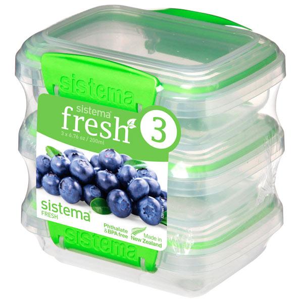 Контейнер для продуктов Sistema 3 Pack Fresh 200мл Lime Green (951523)