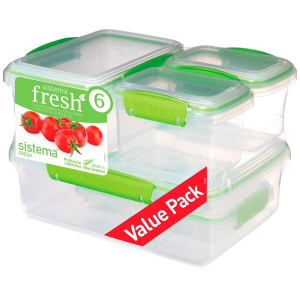 Контейнер для продуктов Sistema 6 Pack Fresh Lime Green (951760) цена 2017
