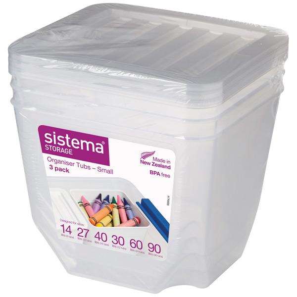 Контейнер для продуктов Sistema Storage Org. Tubs Clear 3 Pack 1.3л White (70013)