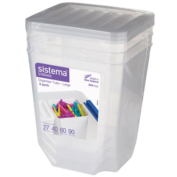Контейнер для продуктов Sistema Storage Org. Tubs Clear 3 Pack 1.8л White (70018)
