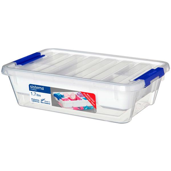 Контейнер для продуктов Sistema With Storage Tray 1,7л White (70019)