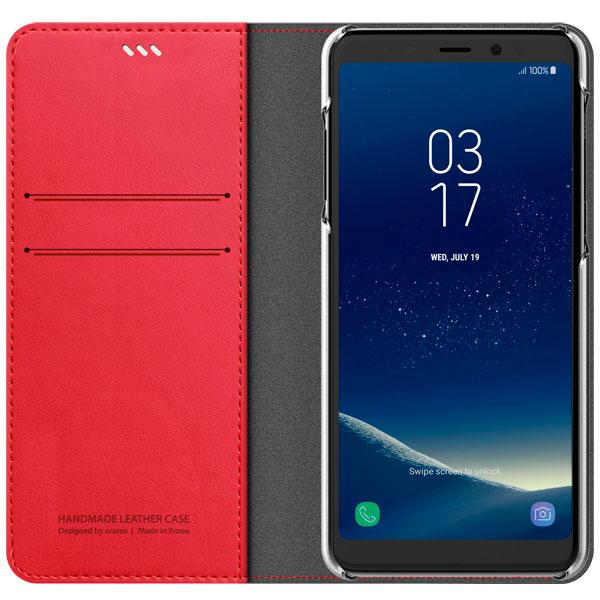 Araree, Чехол для сотового телефона, Mustang Diary для Samsung A8 (2018) Tangerine Red