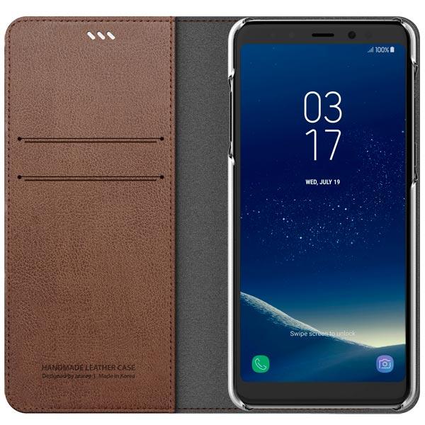 Araree, Чехол для сотового телефона, Mustang Diary для Samsung A8 (2018) Saddle Brown