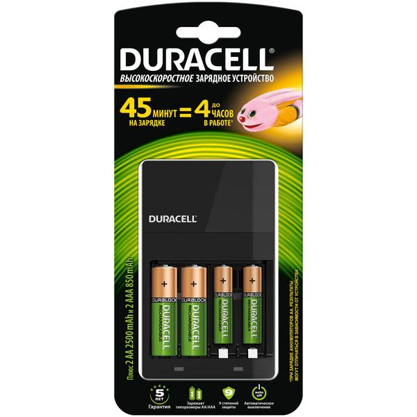 Зарядное устройство + аккумуляторы Duracell CEF14 45-min ExpressCh.+2хAA 2500mAh+2хAAA 850mAh зарядные устройства duracell cef27 15 min express charger 2 х aa2500 mah 2 х aaa850 mah 1шт б0027278