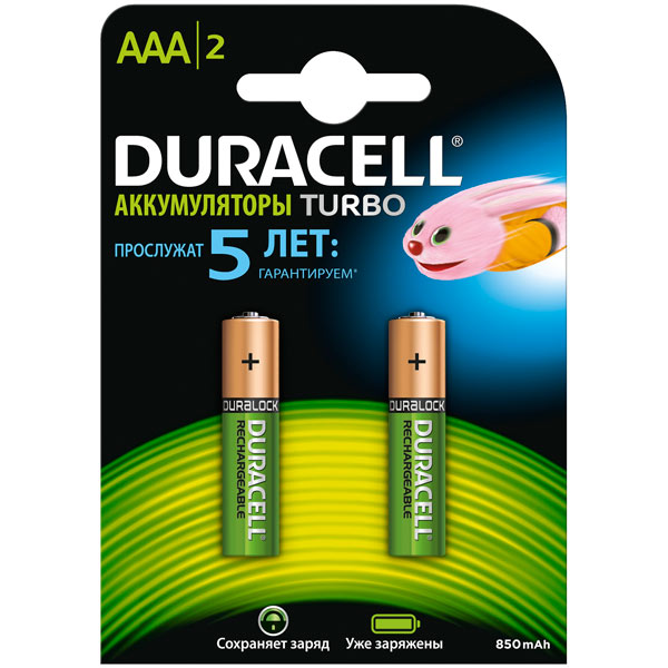 Аккумулятор Duracell AAА HR03-2BL 850mAh/900mA Turbo 2шт. предзаряжен. аккумулятор aaa duracell hr03 850 mah bl2 2 штуки