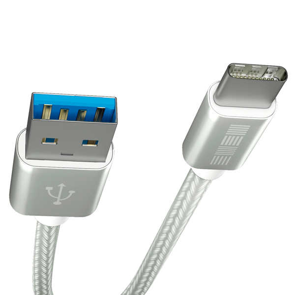 Кабель USB Type-C InterStep TypeC-USBA USB3.0 нейлон 1м M-M Silver