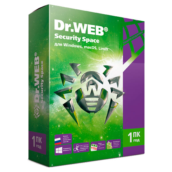 ПО для сервиса М.Видео ЦП ПК пакет Dr.Web Security Space 1ПК/1год антивирус