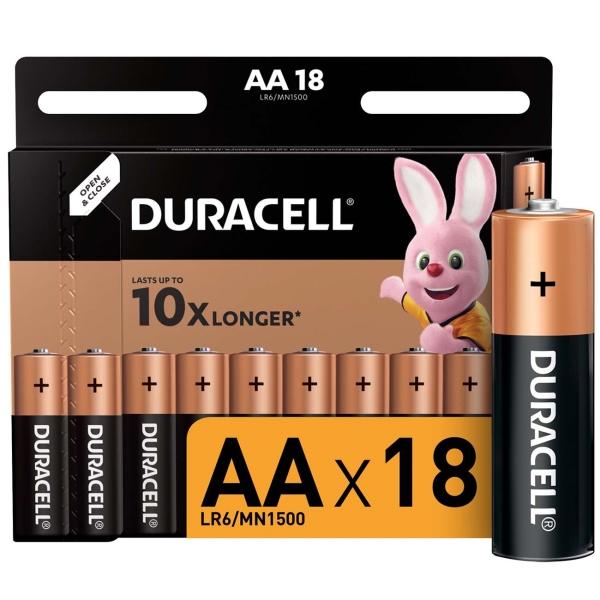 Батарея Duracell AА LR6-18BL Basic 18шт. батарея duracell basic lr6 4bl 4 шт aa