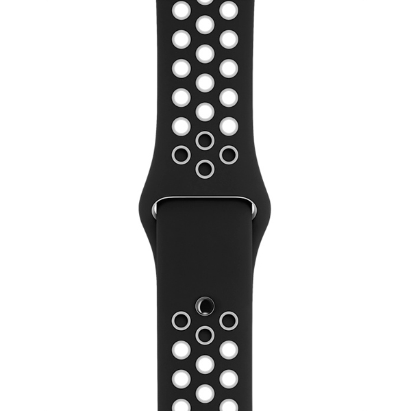 Ремешок Apple 38mm Black/White Nike Sport Band - S/M & M/L умные часы apple watch series 3 38mm grey space with black sport band mqkv2ru a
