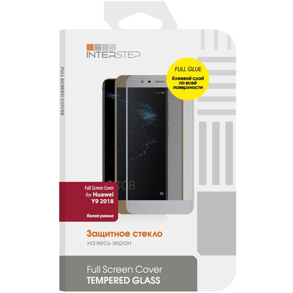 Защитное стекло InterStep Full Screen Cover F.Glue для Huawei Y9 2018 White защитное стекло interstep full screen cover для huawei p20 lite черная рамк