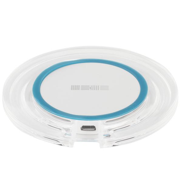 Беспроводное зарядное устройство InterStep QI 7,5W оргстекло круг White/Blue Stripe