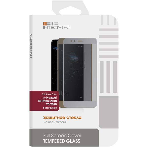 Защитное стекло InterStep для Huawei Y6/Y6 Prime 2018, White Frame смартфон huawei y6 pro золотой