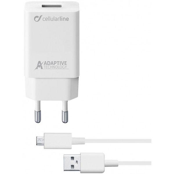 Сетевое зарядное устройство Cellular Line USB 15W + каб.microUSB 1м White(ACHSMKIT15WMUSBW) белого цвета
