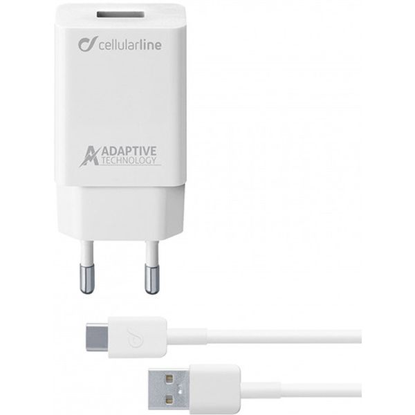 Сетевое зарядное устройство Cellular Line USB 15W + каб.Type-C 1м White (ACHSMKIT15WTYCW) белого цвета