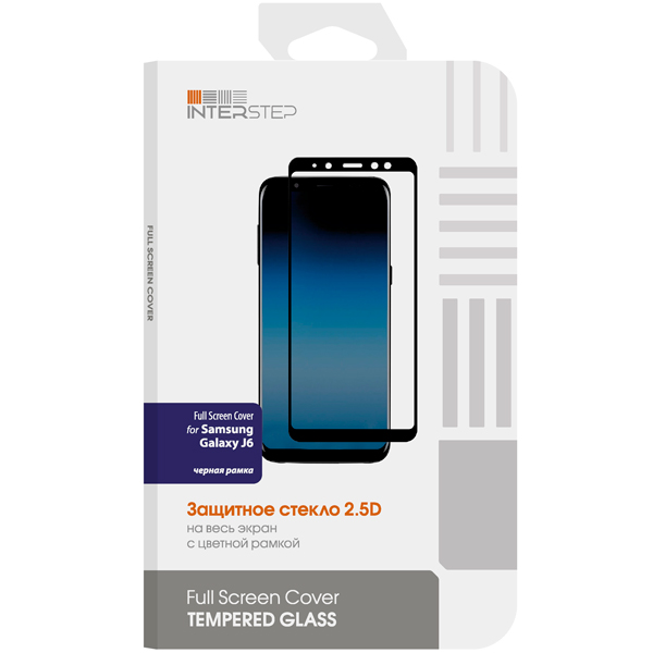 Защитное стекло для Samsung InterStep Full Screen Cover / Galaxy J6,Black Frame