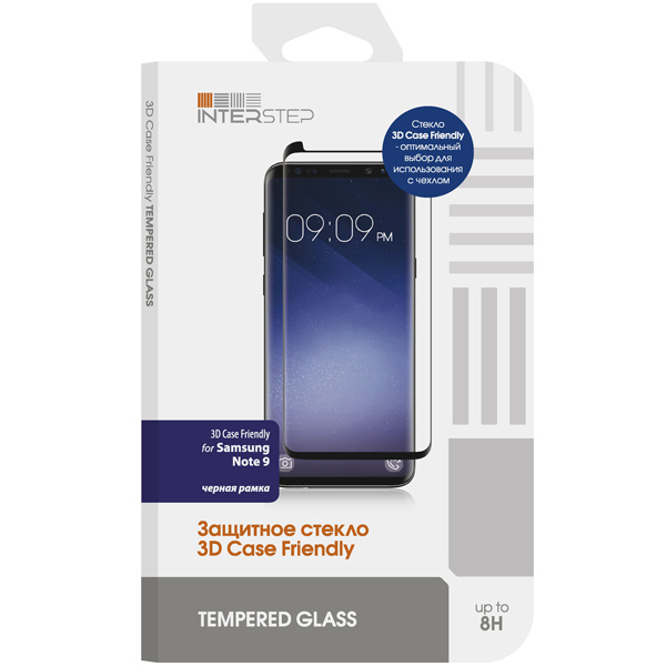 Защитное стекло для Samsung InterStep 3D Case Friendly для Samsung Note 9, Black Frame защитное стекло interstep 3d case friendly для samsung s9 черная рамка