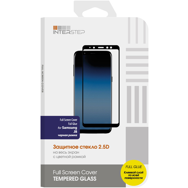 Защитное стекло для Samsung InterStep Full Screen Cover  Glue   J8, Black