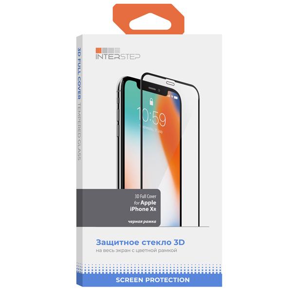 Защитное стекло для iPhone InterStep 3D Full Cover для iPhone XR, черная рамка