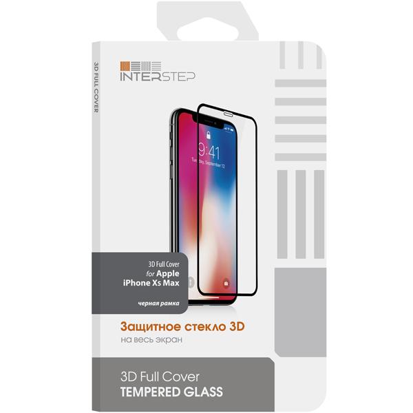 Защитное стекло InterStep 3D Full Cover для iPhone Xs Max, черная рамка