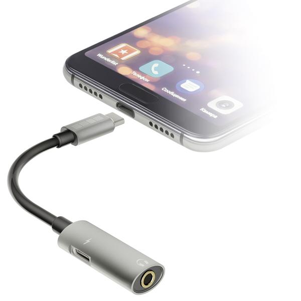 Кабель USB Type-C InterStep Type-C-AUX 3,5мм + Type-C для зарядки, Gray