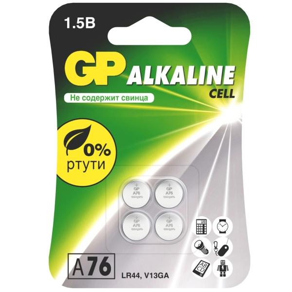 Купить Батарея GP Alkaline A76, 4 шт (GPA76F-2CRU4) в каталоге интернет магазина М.Видео по выгодной цене с доставкой, отзывы, фотографии - Москва