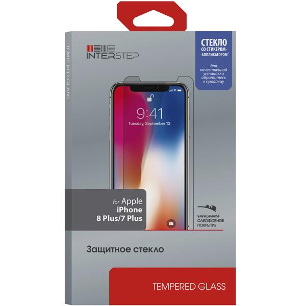 Защитное стекло InterStep глянцевое iPhone 8 Plus/7 Plus с аппл.