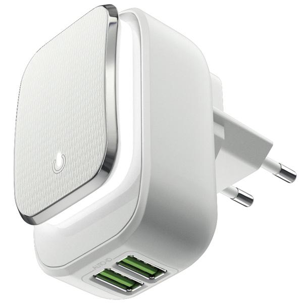 Сетевое зарядное устройство InterStep 2*USB 2,4A Smart LED White/Gray Strip