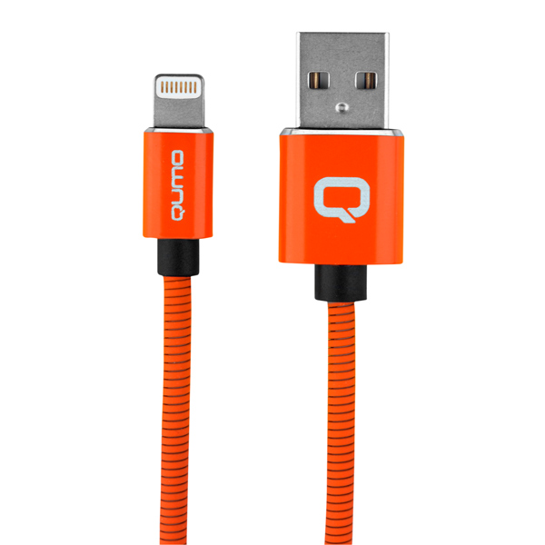 Кабель для iPod, iPhone, iPad Qumo MFI Fullmetall XR Color Orange