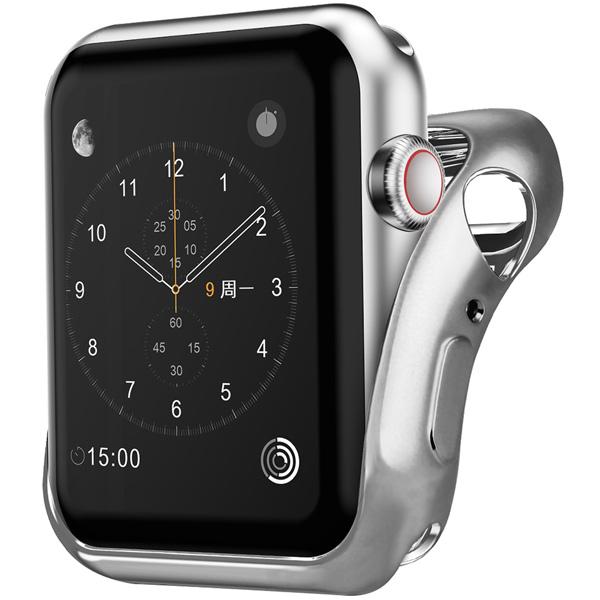 Бампер для Apple Watch InterStep 38mm Спортивный, силикон, серебро