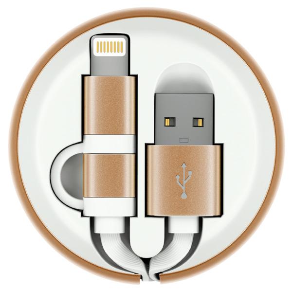 Кабель для сотового телефона InterStep USB/Lightning+Micro,рулетка,плоский,бел-зол, 0,9m