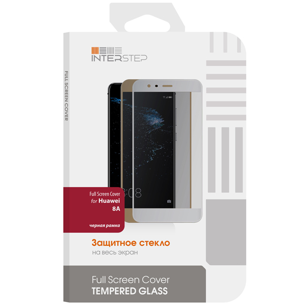 Защитное стекло InterStep FS Cover для Honor 8A, Black Frame
