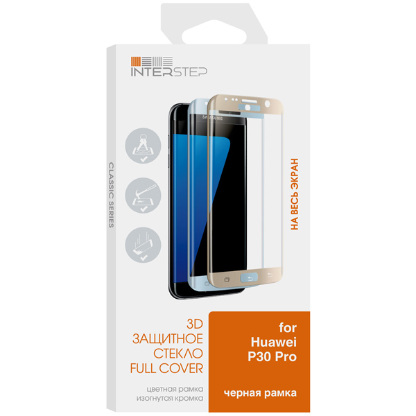 Защитное стекло InterStep 3D для Huawei P30 Pro, Black Frame